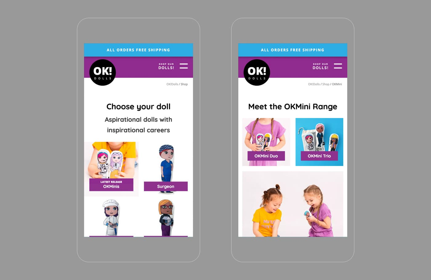 OK!Dolls Mobile Design Screens
