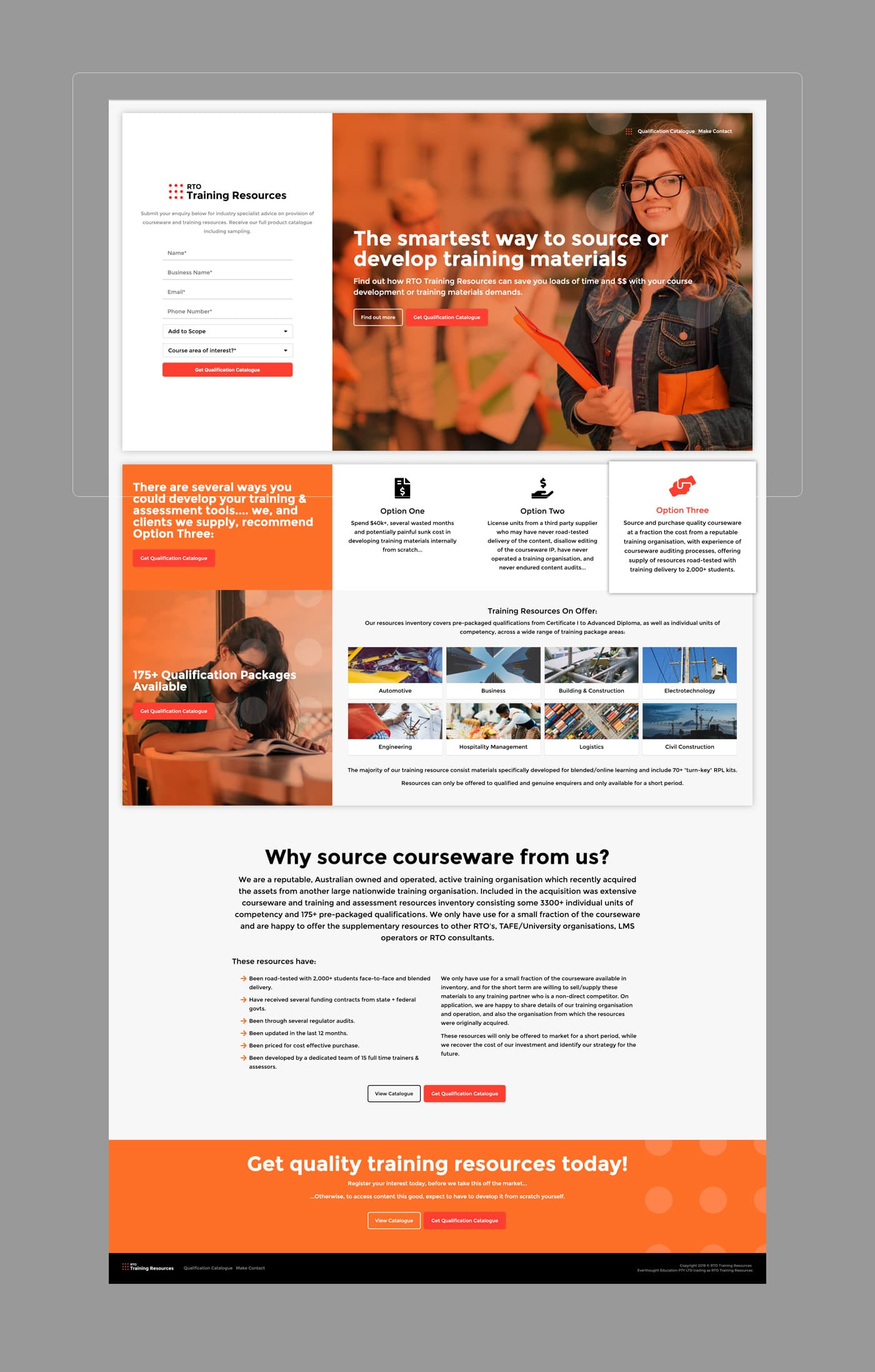 RTO Training Resources - Desktop - Homepage