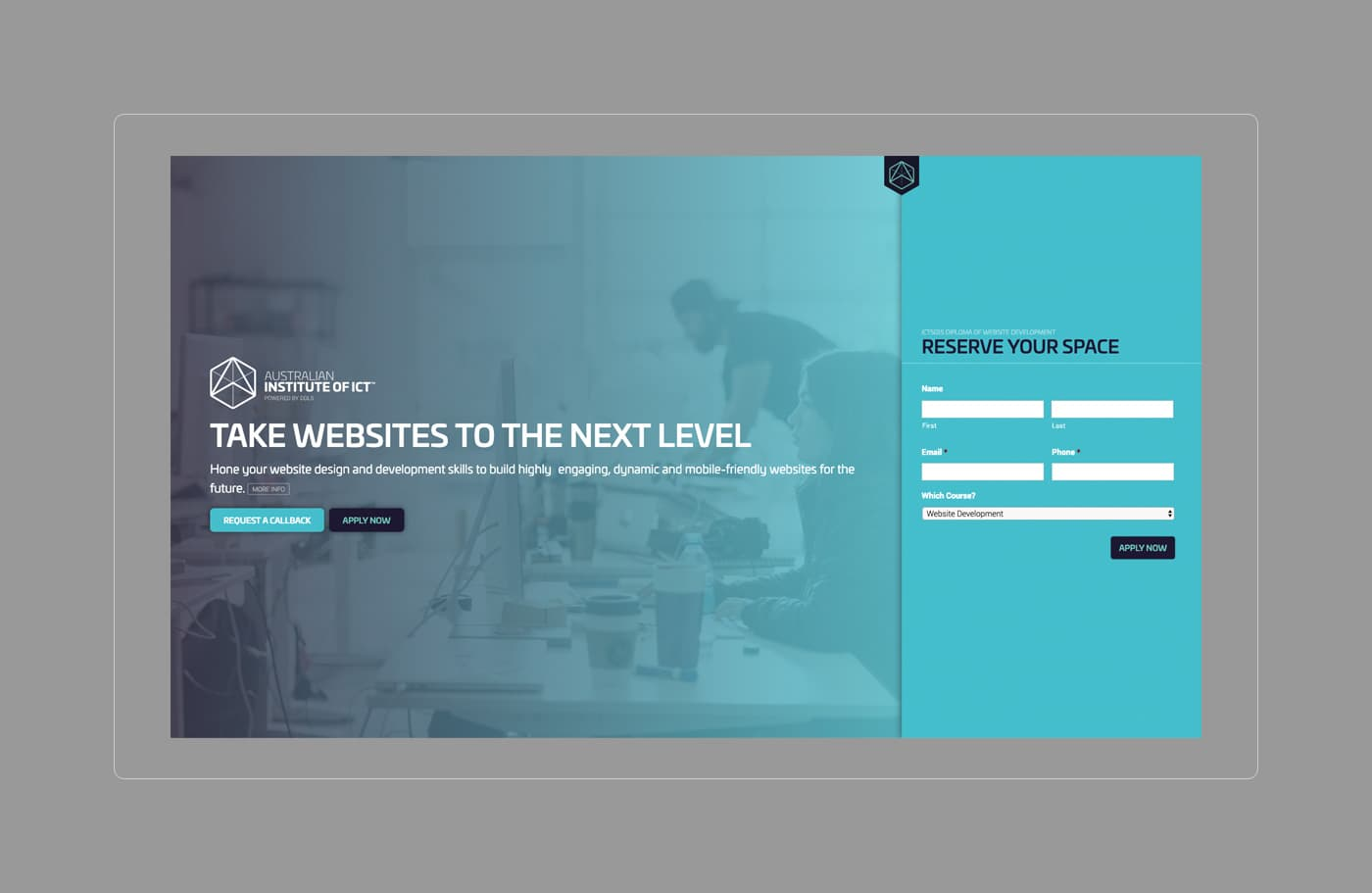 AIICT landing page design