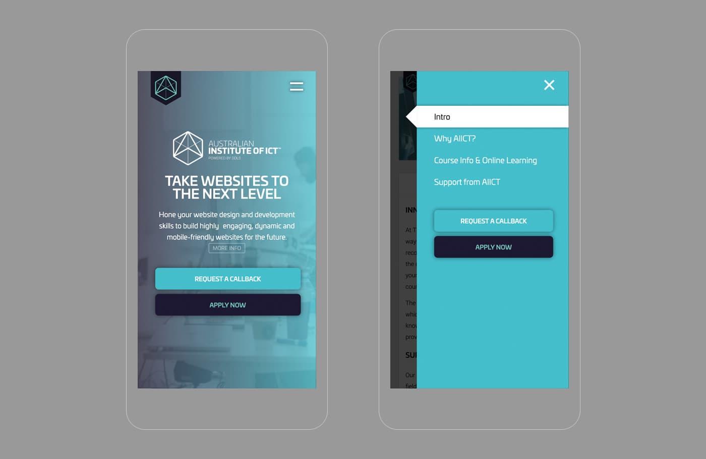 AIICT landing page design - mobile