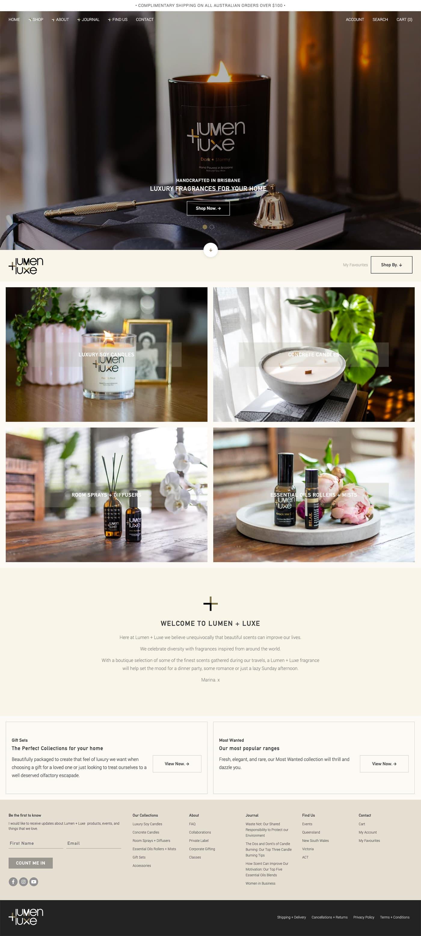 Lumen + Luxe Homepage
